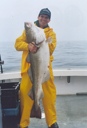Cod fishing in the rain